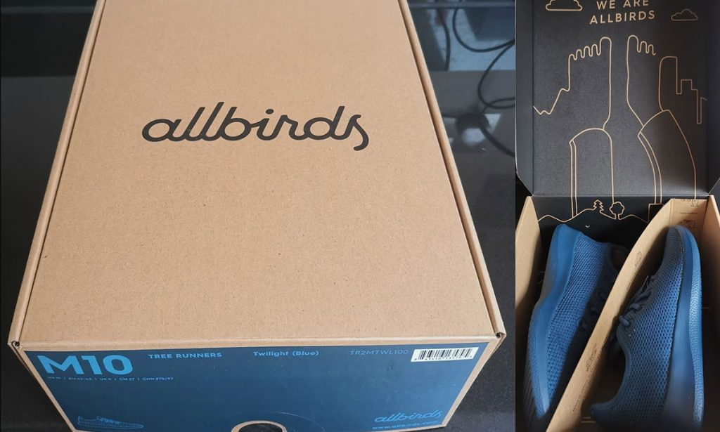 allbirds tree runners review - recycled box